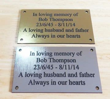 """Brass/Silver Effect Personalised Engraved Memorial Plaque 11cm x 6cm (4.3""""x2.4"""")"""